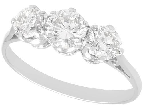 1.23ct Diamond & 18ct White Gold Trilogy Ring c.1935 (1 of 9)