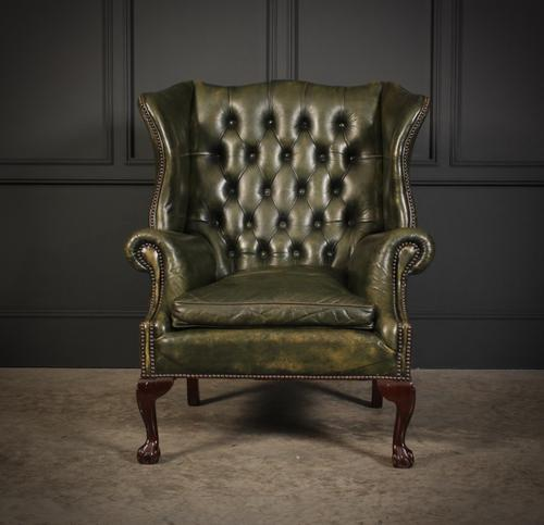 Vintage Green Leather Wing Chair (1 of 25)