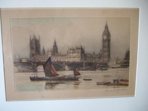 Henry George Walker Coloured Etching of the Houses of Parliament, London (1 of 5)