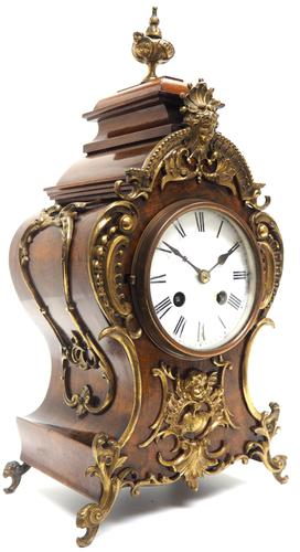 Magnificent French 8-day Mantle Clock Walnut Boulle Striking Mantle Clock (1 of 11)
