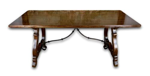 19th Century Spanish Dining Table with Ironwork Base (1 of 11)