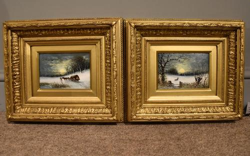 "Oil painting Pair by Robert Finlay McIntyre ""Rabbits in a winter landscape"" and ""Trudging home through the snow"" (1 of 6)"