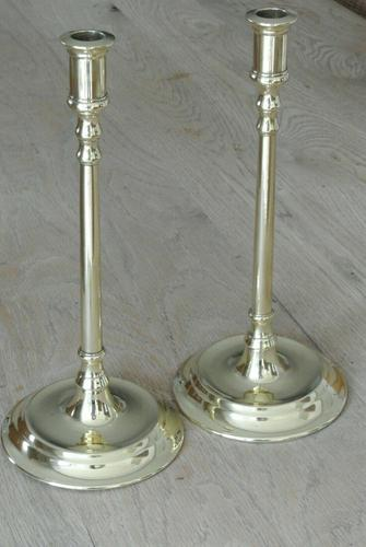 Pair of Quality 17th Century Style Brass Candlestick Pearson Page c.1910 (1 of 9)