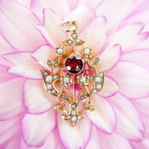 Antique 15ct Gold Garnet & Pearl Floral Pendant, Art Nouveau Victorian Pendant (1 of 5)