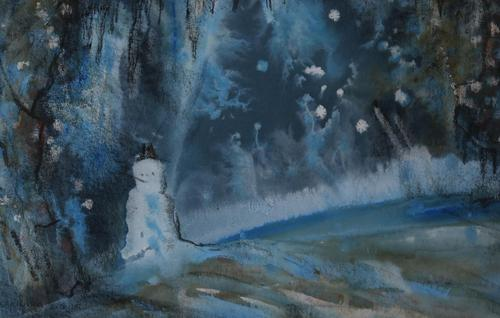 Snowman in a winter landscape by Barbara Doyle (1 of 4)