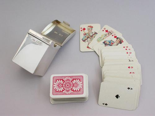 Victorian Silver Miniature Twin Pack Playing Cards Box by Henry Stewart Brown, London, 1899 (1 of 11)
