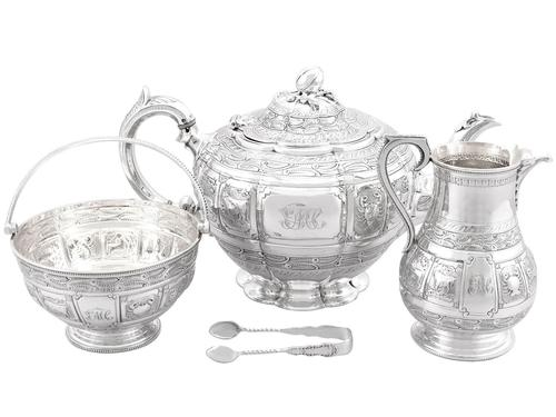 Sterling Silver Three Piece Zodiac Tea Service - Antique Victorian 1882 (1 of 24)