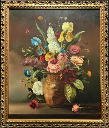 Striking Early 1900s Antique Large Floral Display Oil on Canvas Painting (1 of 12)