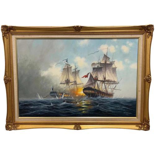 "Seascape Oil Painting Naval Frigate Ships Napoleonic War Sea ""Battle Trafalgar"" (1 of 25)"