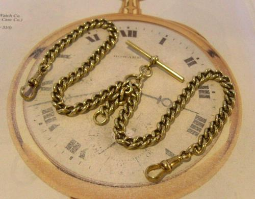 Antique Pocket Watch Chain 1890s Victorian large Brass Double Albert With T Bar (1 of 12)