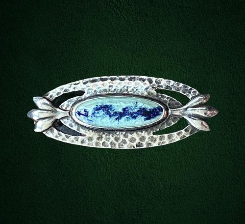 Antique Arts & Crafts Silver and Enamel Brooch c.1910 (1 of 6)