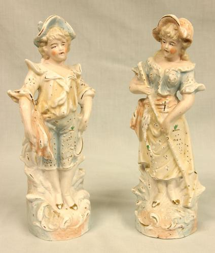 Pair of Bisque Figurines of Young Boy & Girl (1 of 8)