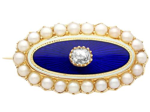 0.29ct Diamond, Seed Pearl & Enamel, 15ct Yellow Gold Brooch - Antique Victorian (1 of 9)
