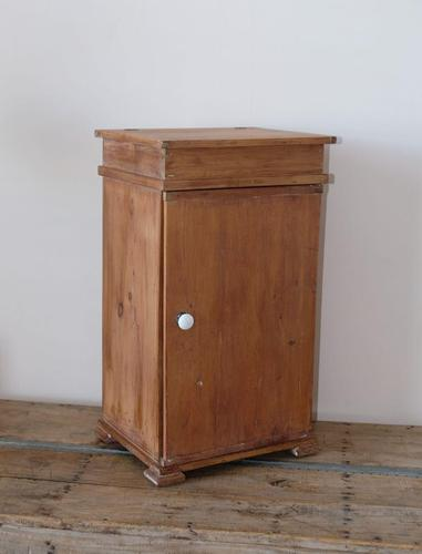 Old pine cupboard with hinged lid above a door (1 of 11)