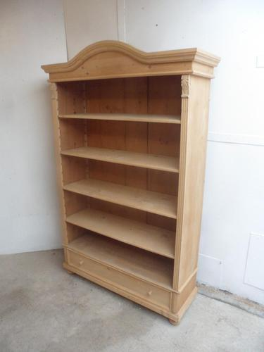 Extra Large Antique Pine Arch Top Adjustable Bookshelf to Wax / Paint (1 of 9)