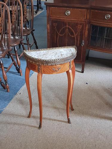 Small french Demi Lune Marble Top table (1 of 4)