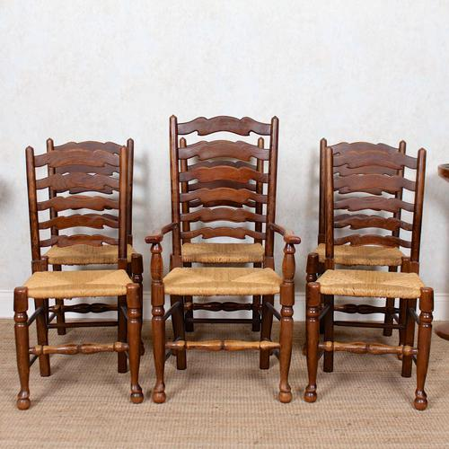 6 Oak Elm Rushwork Country Dining Chairs (1 of 10)