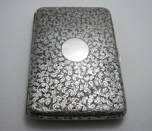 Quality Victorian 1894 Solid Sterling Silver & Leather Aide Memoire Card Note Stamp Case Purse Wallet. English Hallmarked (1 of 12)