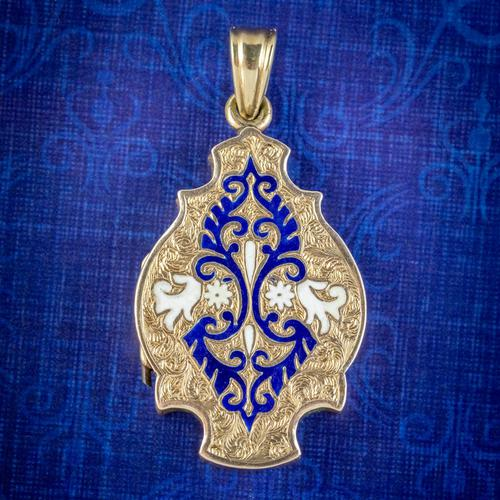 Antique Victorian Enamel Locket 15ct Gold c.1890 (1 of 7)
