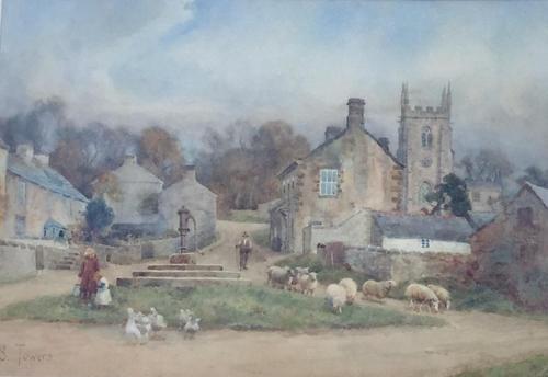 Sam Towers Watercolour - Village Street Scene, Hartington, Dovedale (1 of 2)