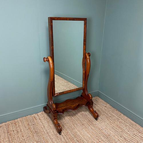 Fine Quality Figured Mahogany Victorian Antique Cheval Mirror (1 of 6)
