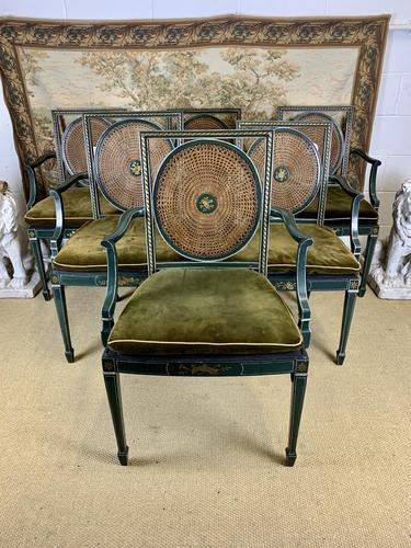 Fabulous Set of 6 Green Painted Armchairs (1 of 12)