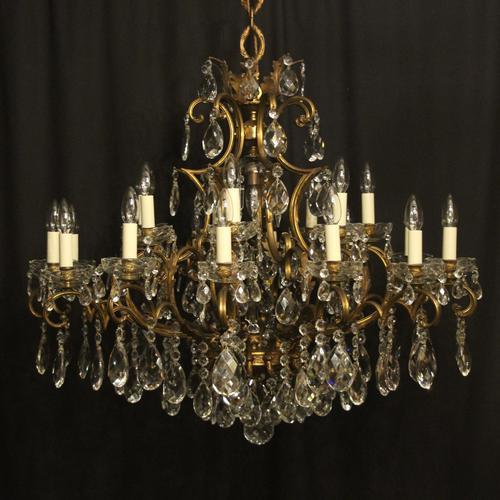 Italian Gilt & Crystal 22 Light Antique Chandelier (1 of 8)