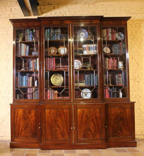 George 3 mahogany breakfront bookcase library circa 1800 (1 of 9)
