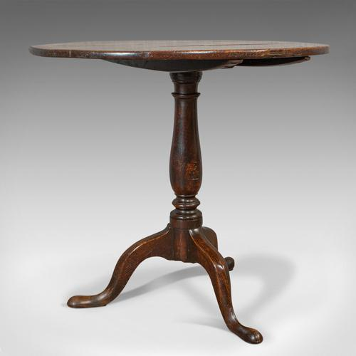 Antique Circular Table, English, Oak, Folding, Side, Occasional, Georgian, 1780 (1 of 9)