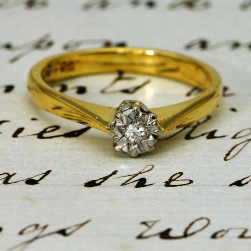 The Vintage 1982 18ct Gold Diamond Solitaire Ring (1 of 4)