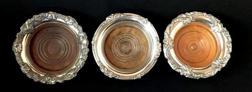 Three 19th Century Sheffield  Plate Bottle Coasters (1 of 4)