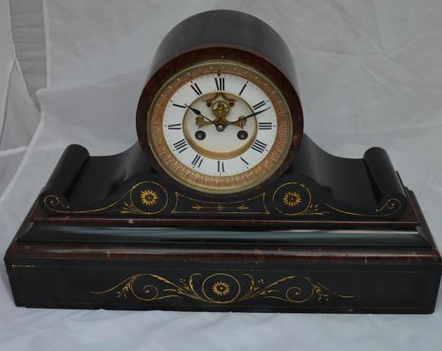 French Slate Mantel Clock Visible Escapement (1 of 5)