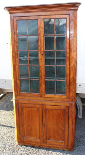 1850's Satin Walnut Corner Cupboard on Stand with Glazed Top (1 of 4)