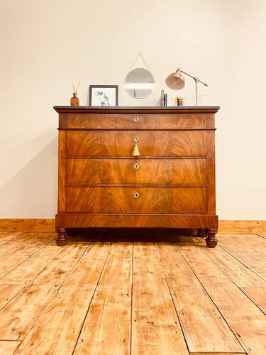 Antique Flamed Mahogany Chest of Drawers / Washstand / Commode With Marble (1 of 5)