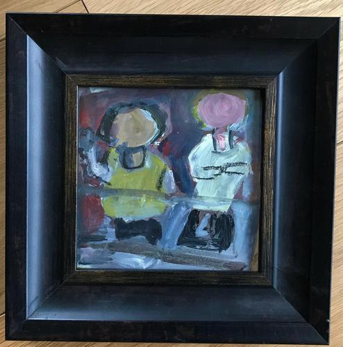 Original mixed media painting 'Figures on a balcony' by Doreen Heaton Potworowski. 1920-2014. c.1970. Framed. (1 of 1)