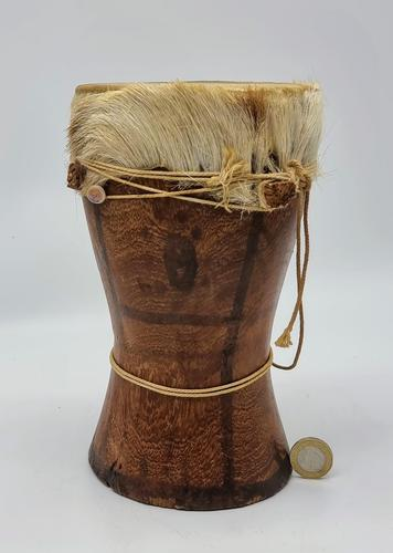 Small Handcrafted African Bongo with Genuine Hide (1 of 8)