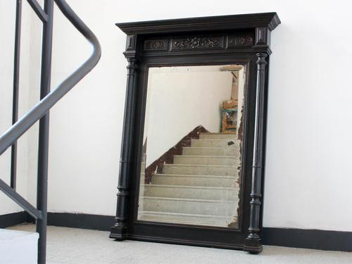 """Late 19th Century French """"Ebonised"""" Overmantel Mirror with Columns (1 of 6)"""