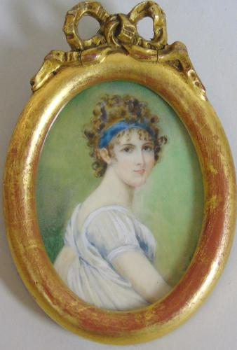 Antique Portrait Miniature Madame Recamier after Jacques-Louis David (1 of 4)