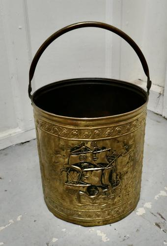 Embossed Brass Coal Bucket with a Tea Clipper Sea Scene (1 of 5)