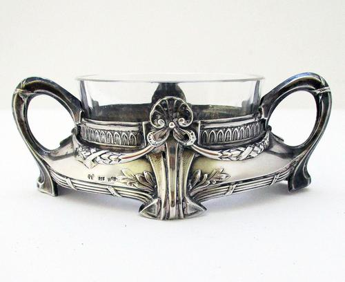 German Art Nouveau 925 Solid Sterling Silver & Glass WMF Style Antique Salt Cellar Dish - Wilhelm Binder c.1905 (1 of 7)