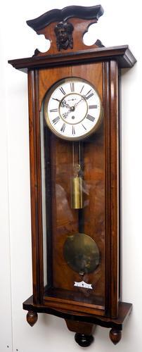 Antique Rocket Cased Single Weight Walnut 8-Day Vienna Regulator Wall Clock (1 of 14)