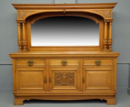 Edwardian Light Oak Carved Mirror-back Sideboard (1 of 17)