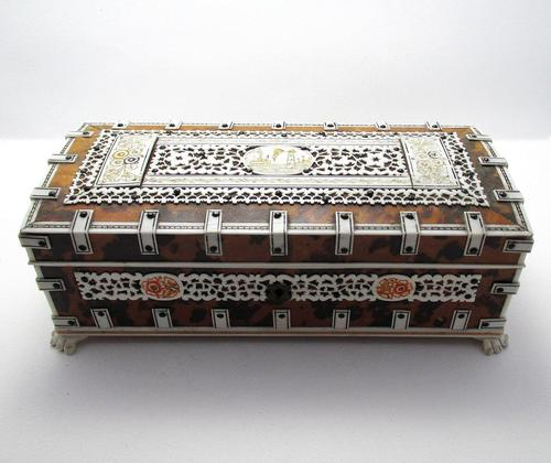 Quality Victorian Anglo Indian Antique Vizagapatam Trinket Jewellery Box Casket, 19th Century India (1 of 11)