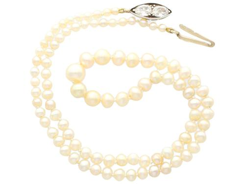 Single Strand Natural Pearl Necklace with 1.02ct Diamond Set Clasp - Antique c.1890 (1 of 9)