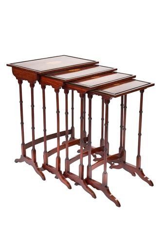Fine Edwardian Inlaid Mahogany Nest of Quartetto Tables (1 of 6)