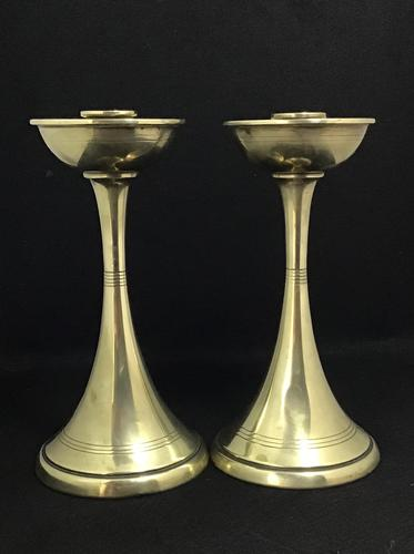 Pair of Arts & Crafts Brass Elegant Candlesticks (1 of 6)