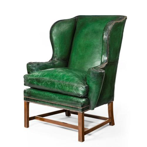 George III Green Leather Wing Armchair (1 of 5)