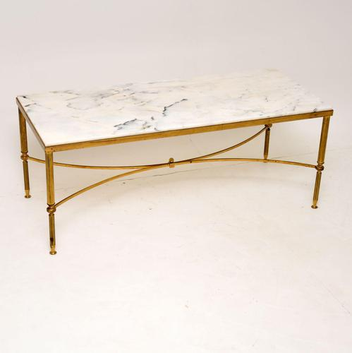 1950's Italian Vintage Brass & Marble Coffee Table (1 of 7)