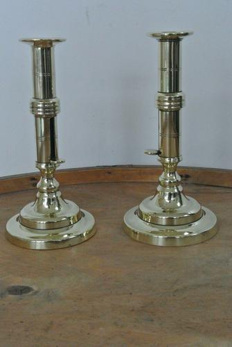 Pair of 18th Century English Gregorian Brass Candlesticks 1790-1810  Push up Ejector (1 of 8)
