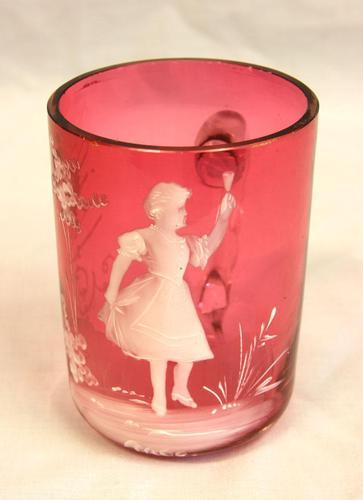 Antique Victorian Mary Gregory Cranberry Glass Mug (1 of 6)